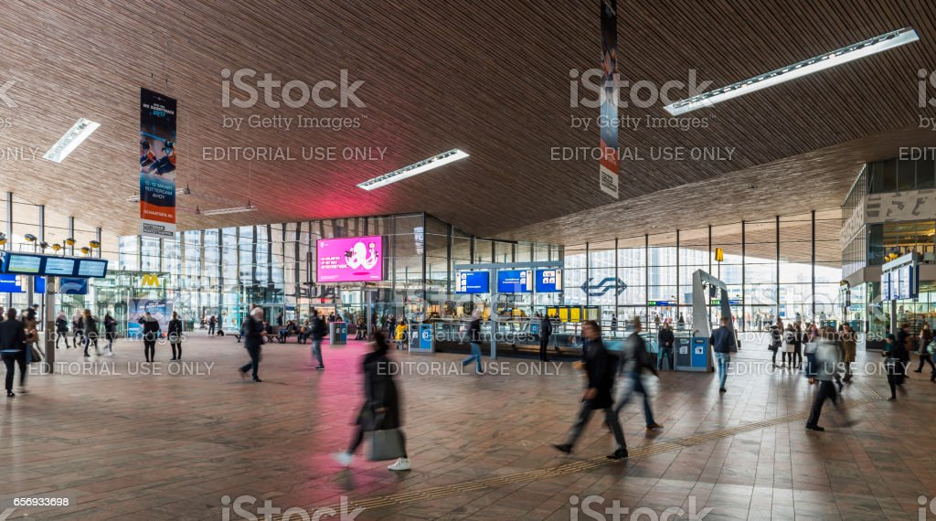 Train Station Hall Travelers Rotterdam stock photo