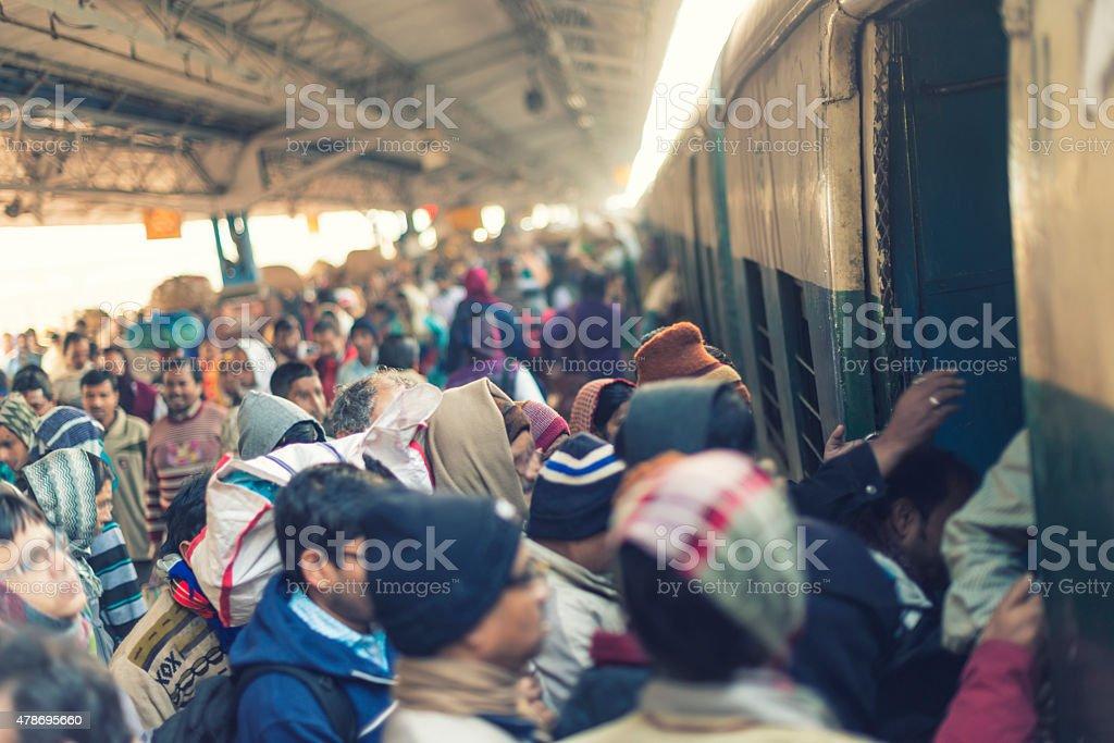 Train station in Calcutta stock photo