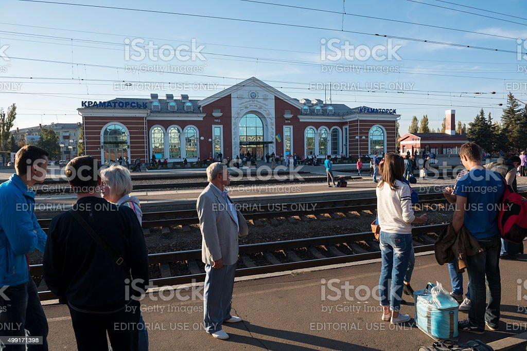 Train station in Kramatorsk, Ukraine stock photo