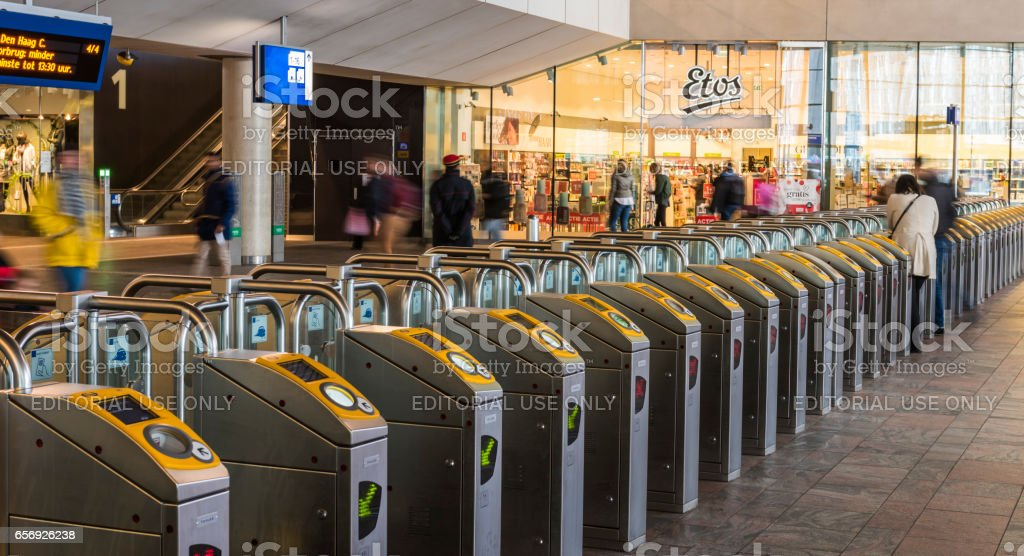 Train Station OV Chip  Rotterdam stock photo