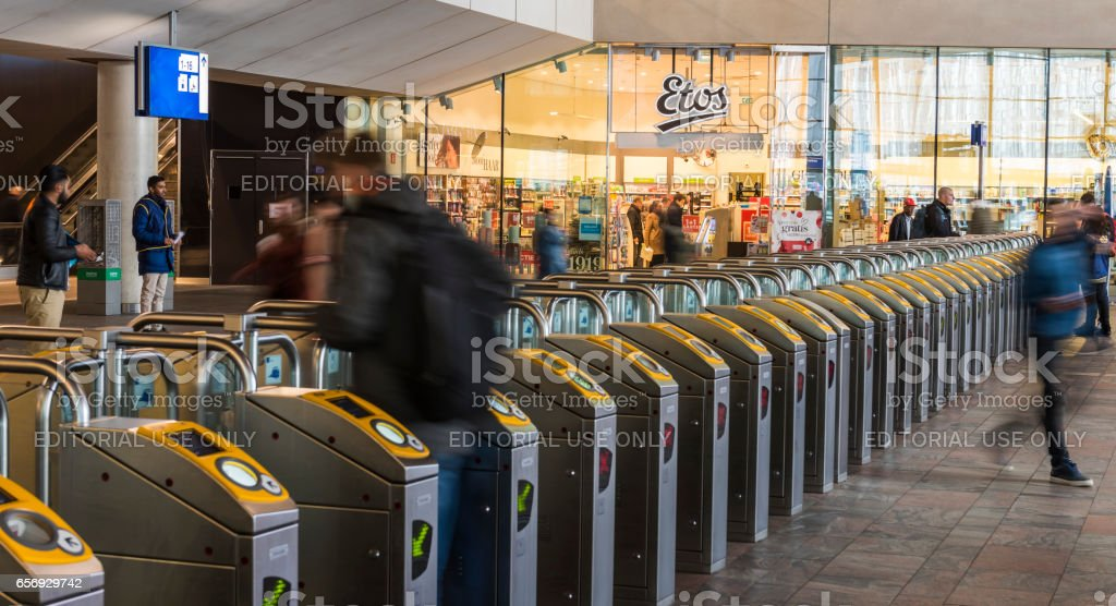 Train Station OV Travelers  Rotterdam stock photo