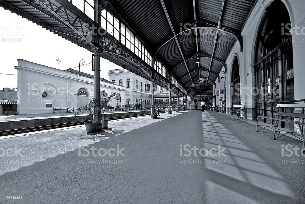 BW Train Station royalty-free stock photo