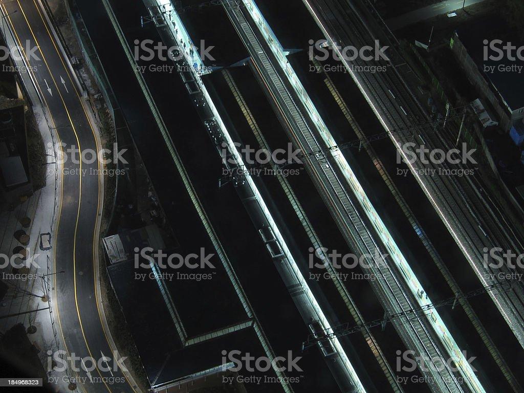 Train Station Platforms at night royalty-free stock photo