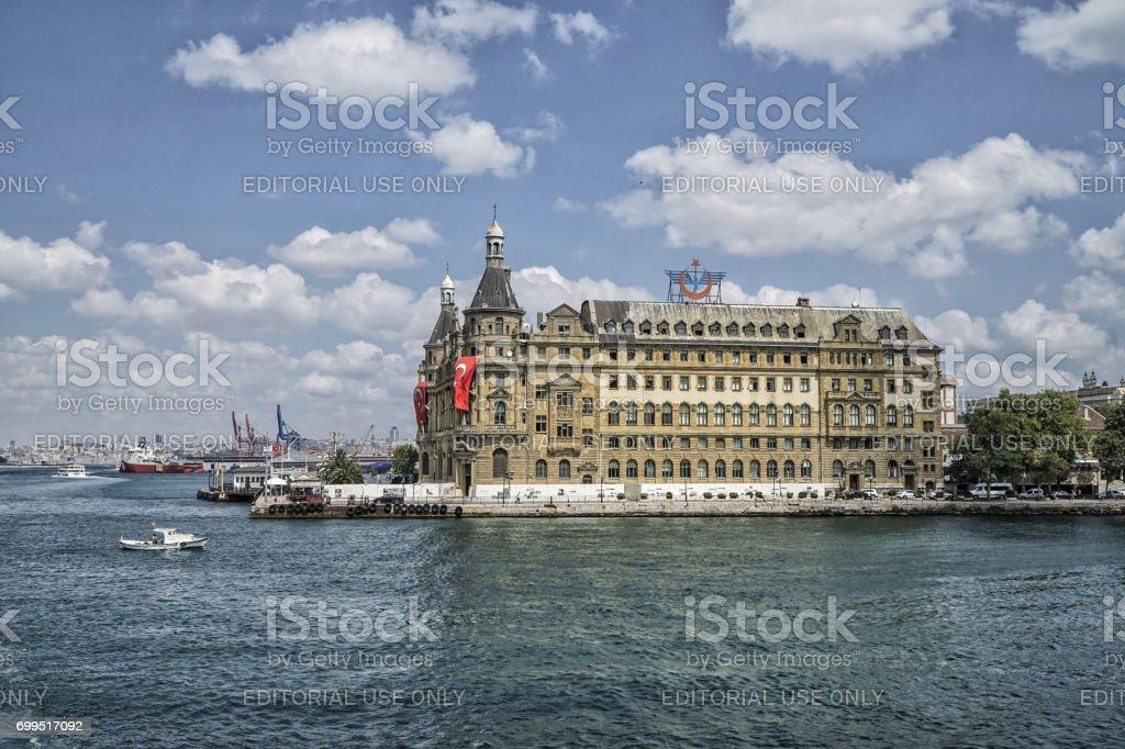 Train station that is symbol landmark of Istanbul in Turkey. stock photo