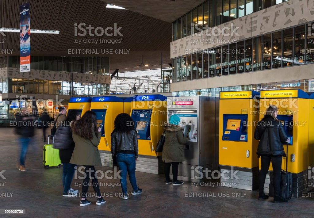 Train Station Tickets Rotterdam stock photo