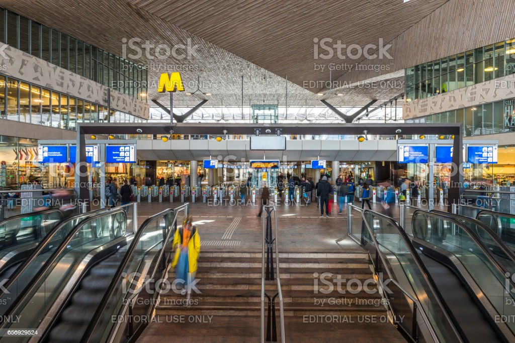 Train Station Traveler Rotterdam stock photo