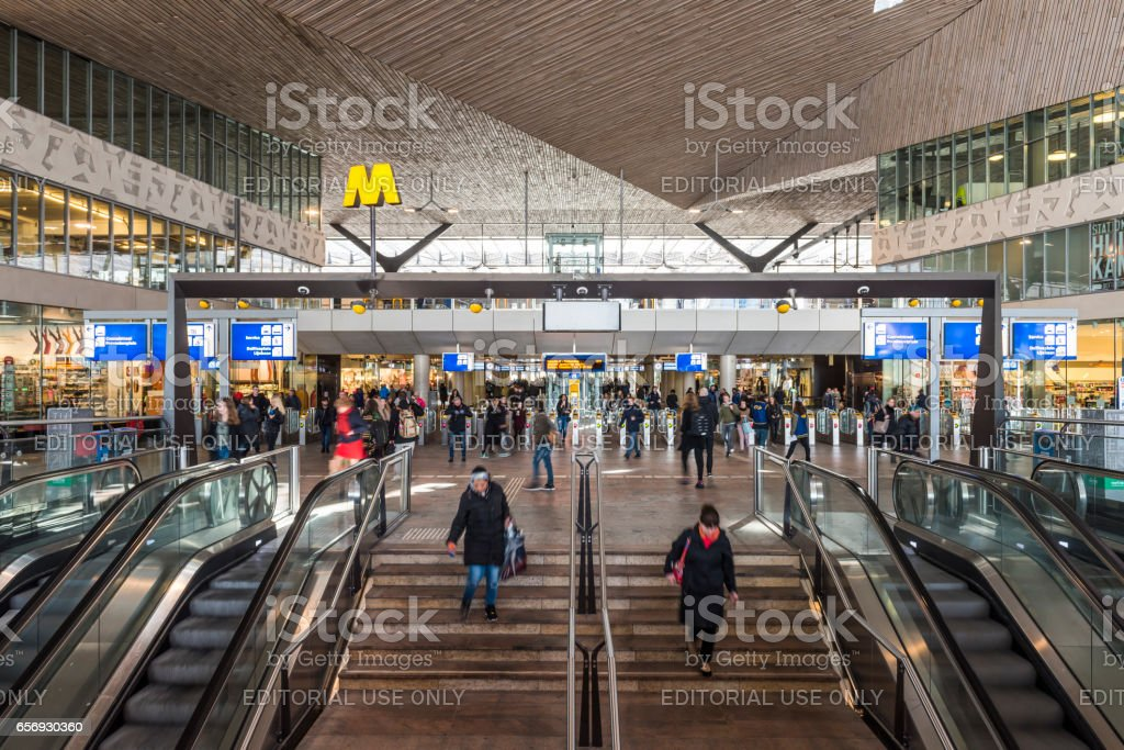 Train Station Travelers Rotterdam stock photo