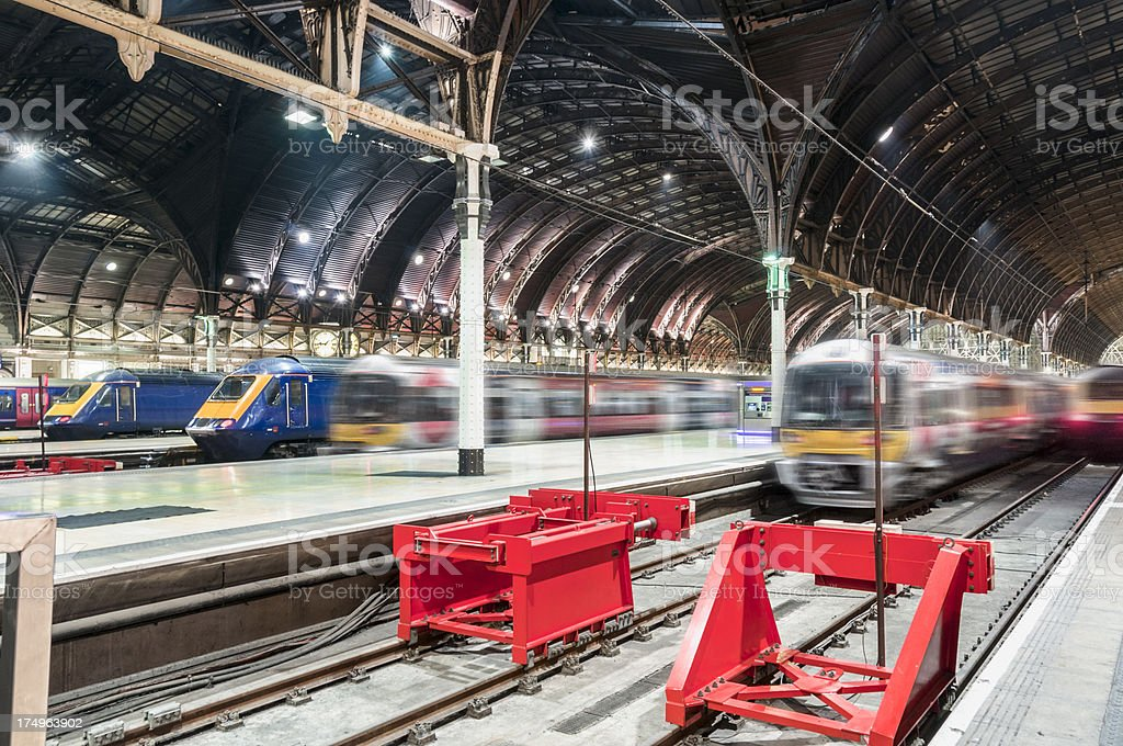 Train Station With Trains Arriving stock photo