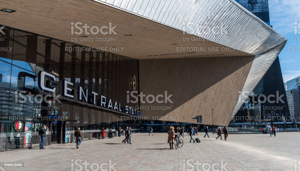 Train Station with Travelers Rotterdam stock photo