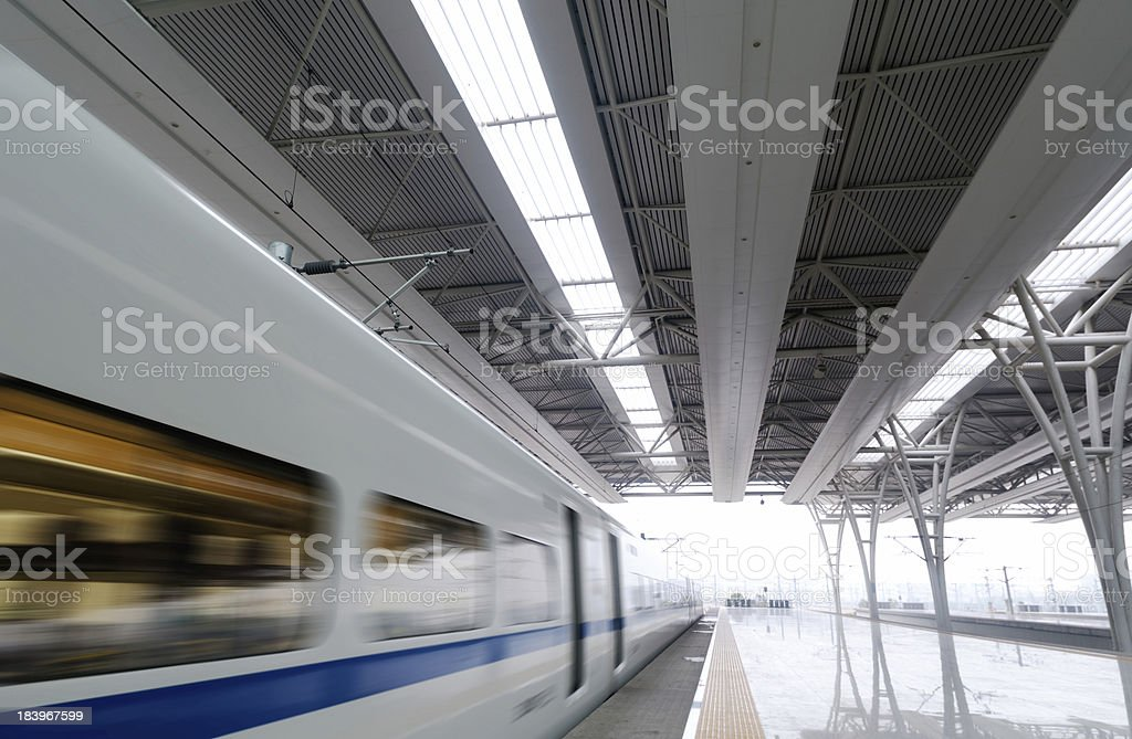 train stop at railway station royalty-free stock photo