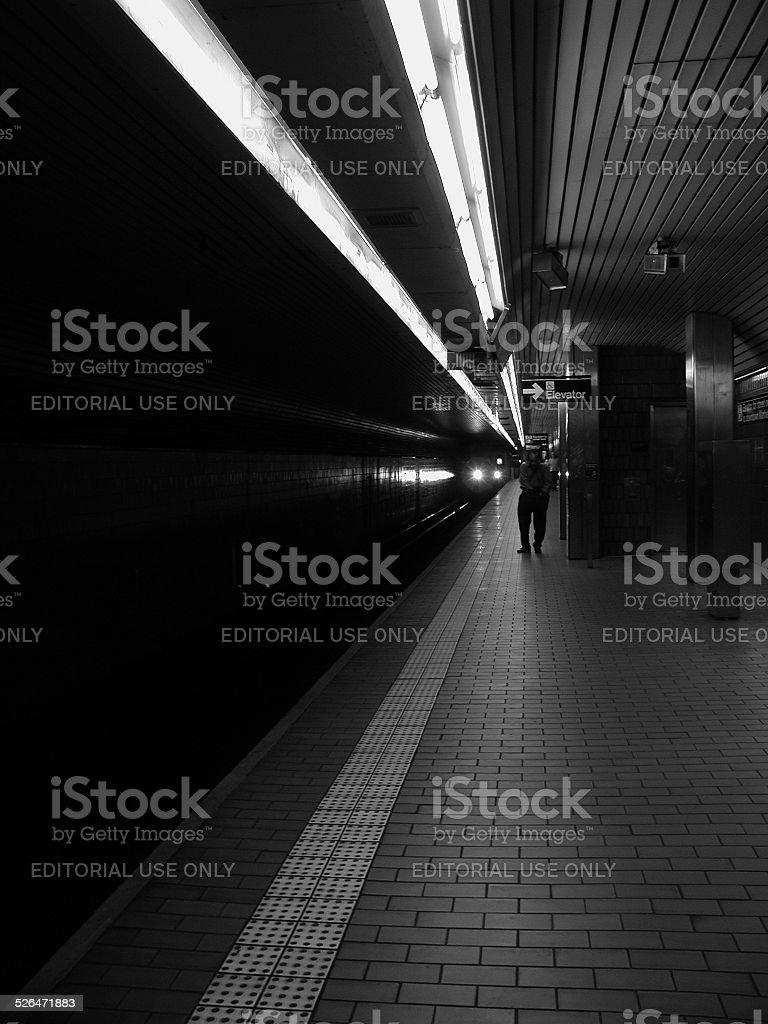 F Train Subway Station Platform 63rd & Lexington Ave stock photo