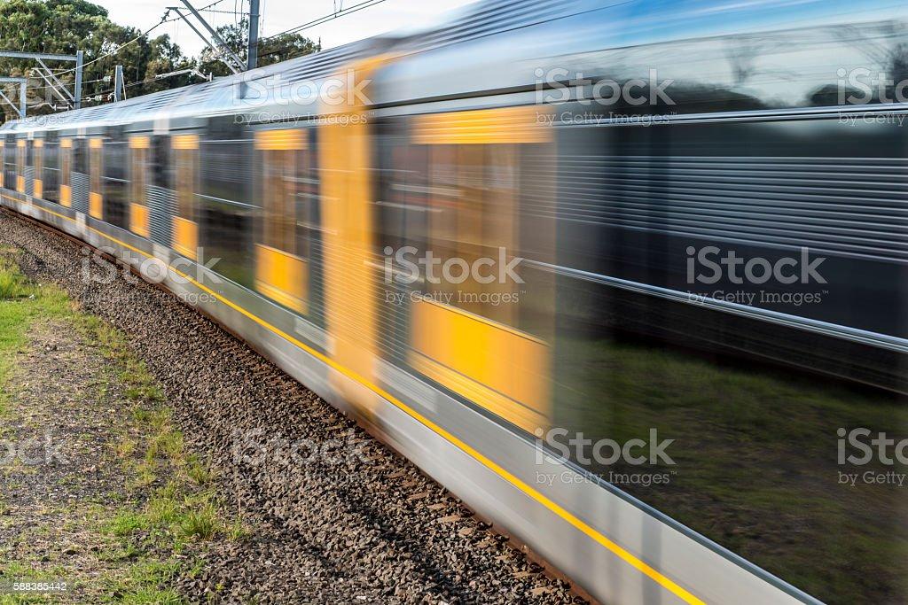 Train Sydney Australia,  Speed Motion Blur stock photo