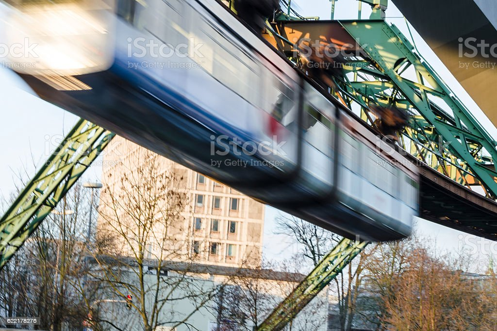 Train the Wuppertal suspension railway stock photo
