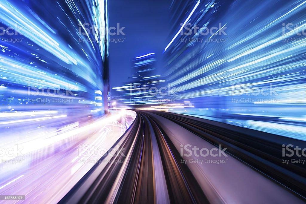 train through city stock photo