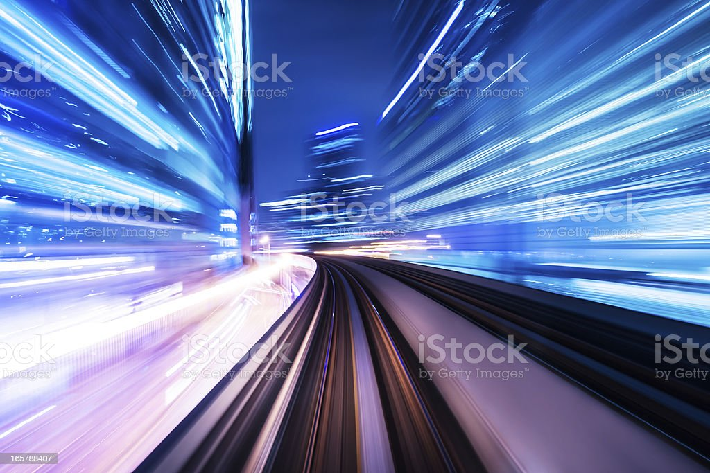 train through city stock photo