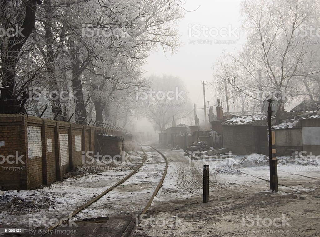 Train Through Slum royalty-free stock photo