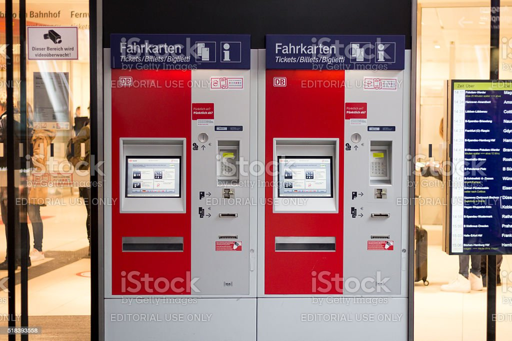 Train ticket vending machine of the german railroad company (Deu stock photo