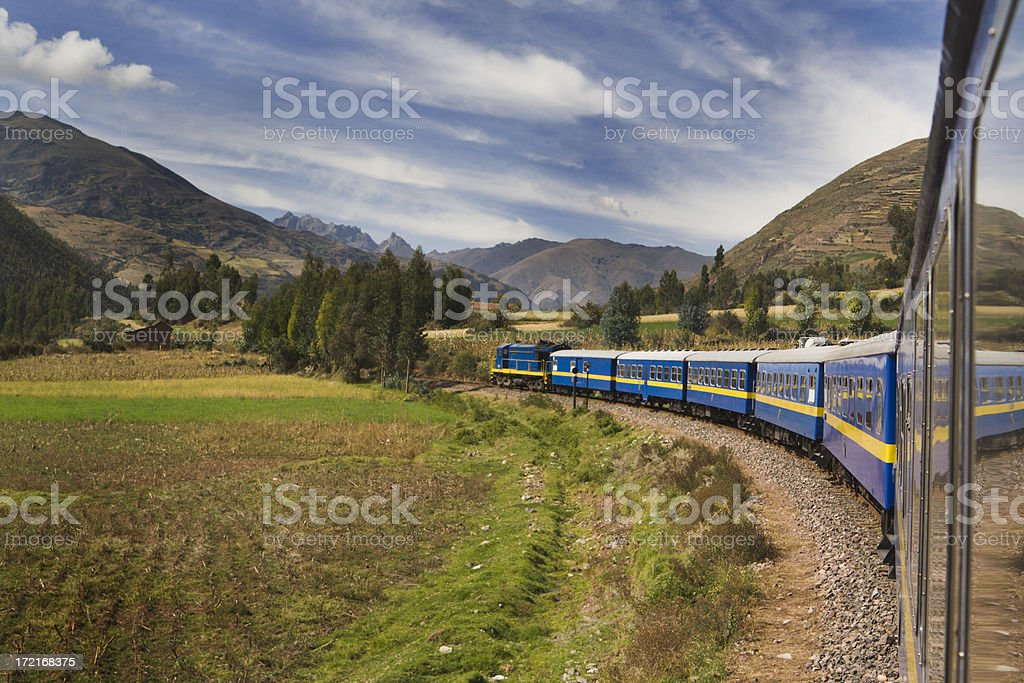 Train to Machu Picchu, Traveling Mountain Railroad in Andes, Peru royalty-free stock photo