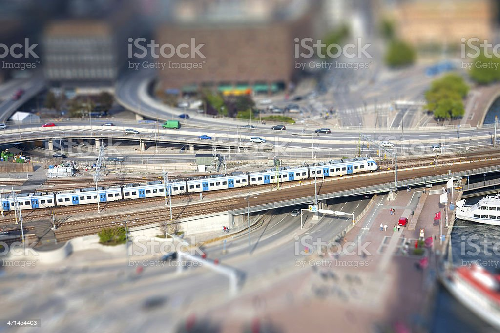 Train to Stockholm.  (Tilt shift) stock photo