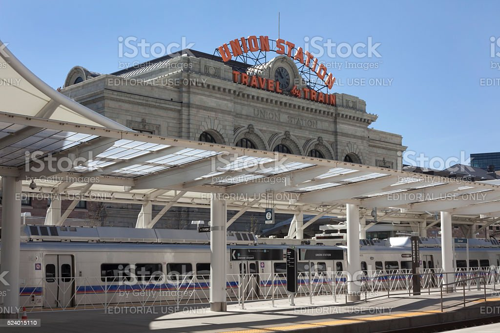 Train to the Plane Grand Opening Denver Union Station Colorado stock photo