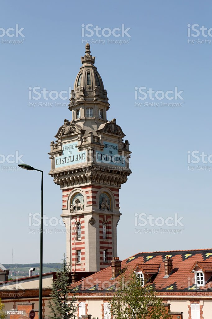 Train Tower in Champagne Region of France, Europe Wine Country stock photo