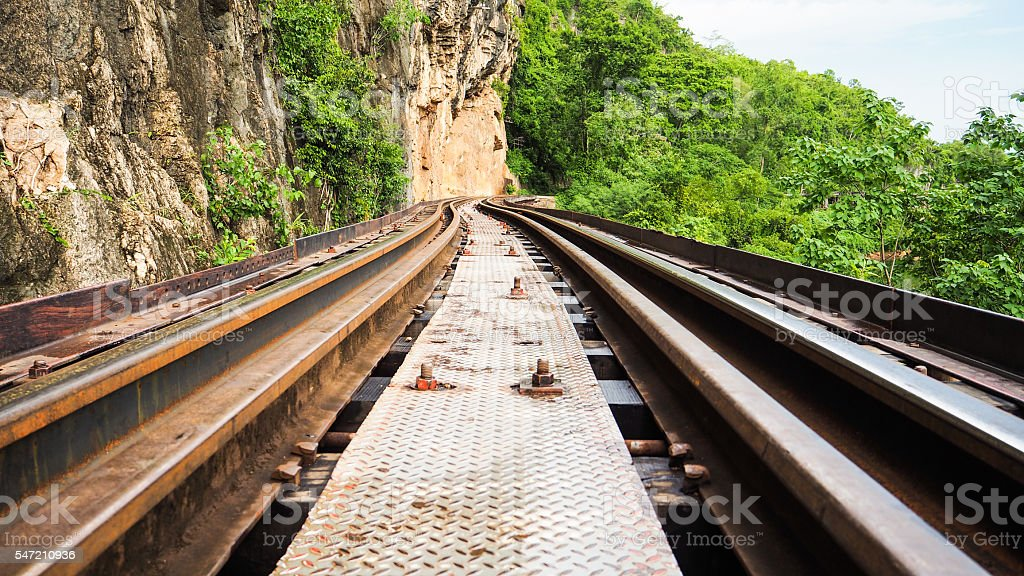 Train Track along the cliff in Thailand stock photo