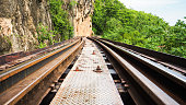 Train Track along the cliff in Thailand