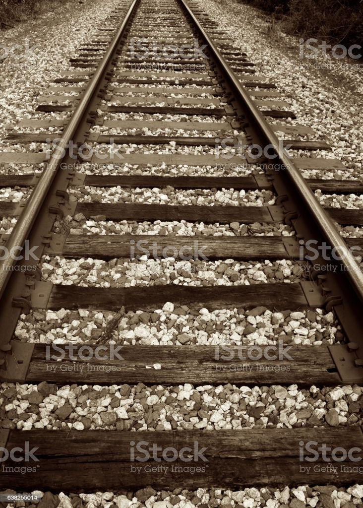 Train Track and Bed stock photo