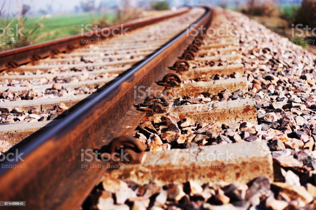 Train track selective focus stock photo