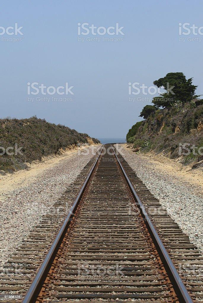 Train Track to Sea royalty-free stock photo