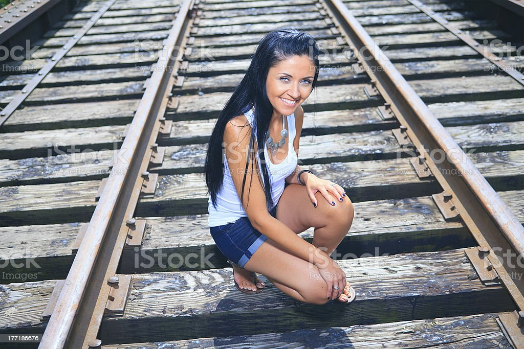 Train Track Woman - Top View royalty-free stock photo
