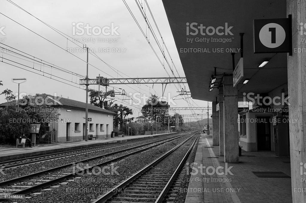 Train Tracks at Cortona Station stock photo
