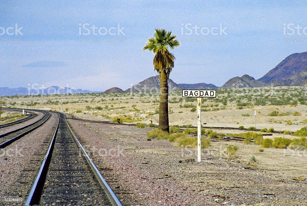 Train Tracks in Desert stock photo
