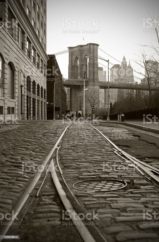 Train Tracks in Dumbo stock photo