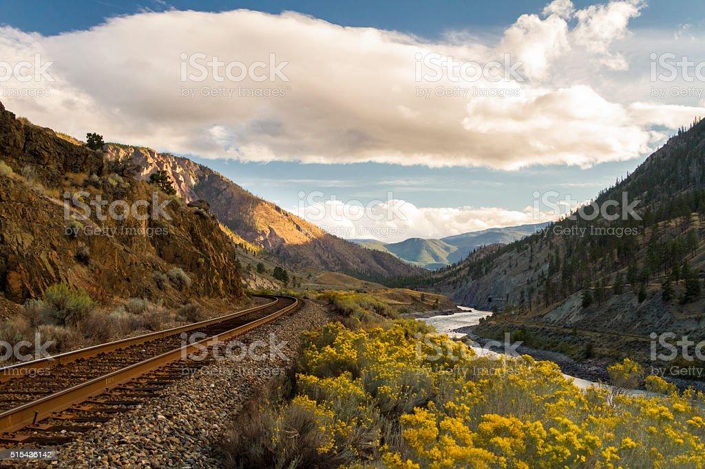 Train Tracks in North America stock photo
