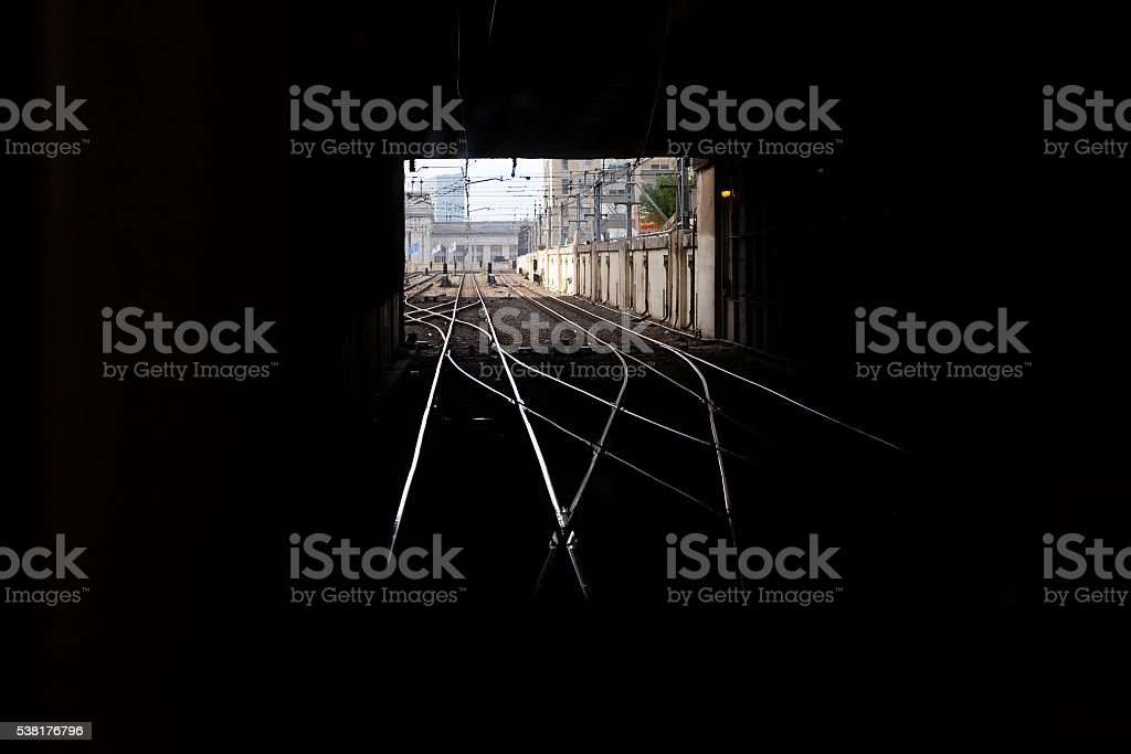 Train Tracks in Tunnel stock photo