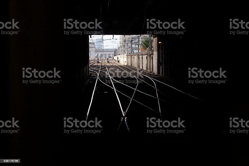 Train Tracks in Tunnel stock photo
