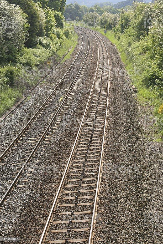 'train tracks on railway line, Derbyshire, Peak District National' stock photo