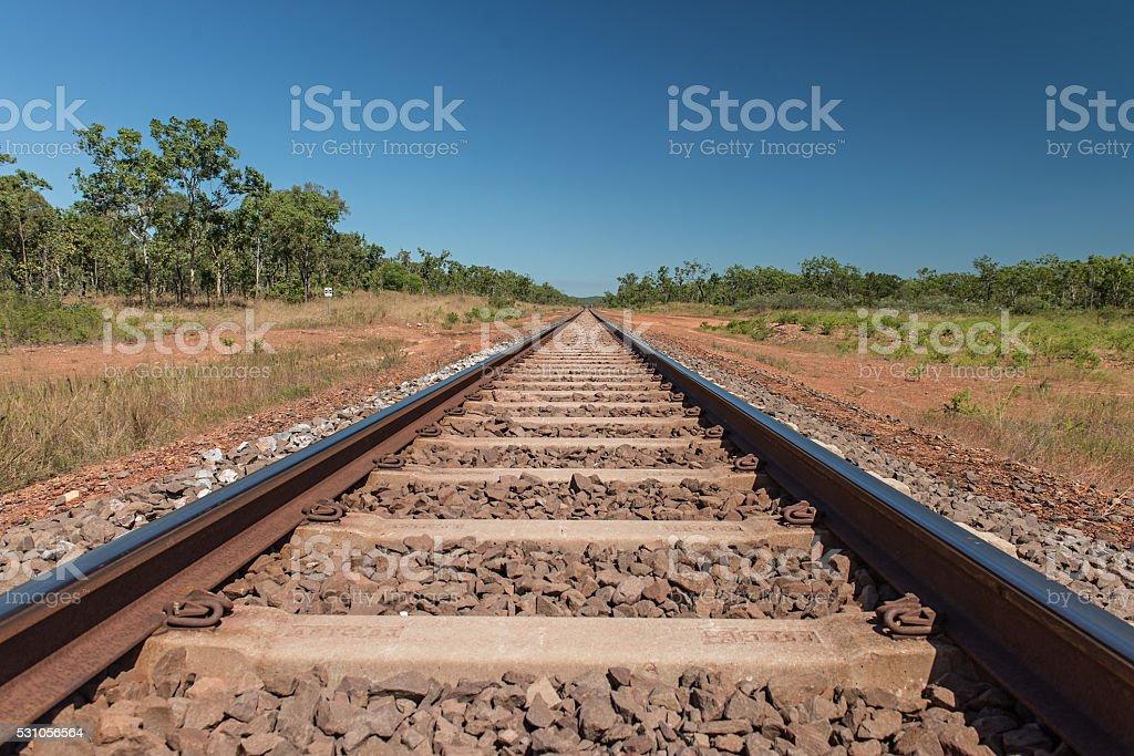 Train tracks out near Manton Dam, Northern Territory stock photo