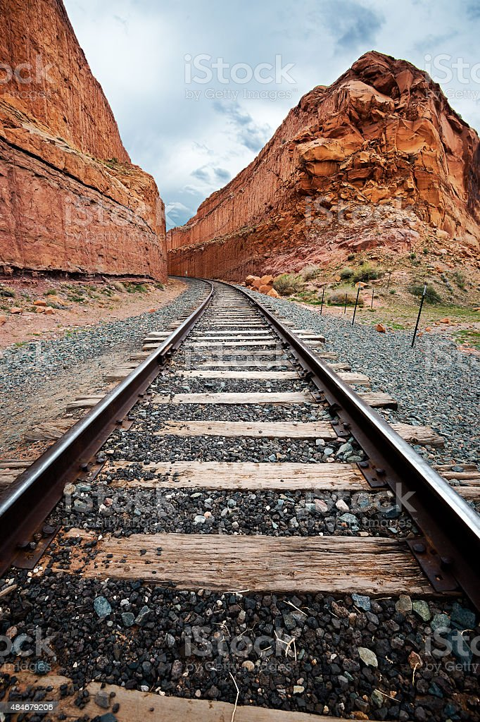 Train Tracks through the Canyon stock photo