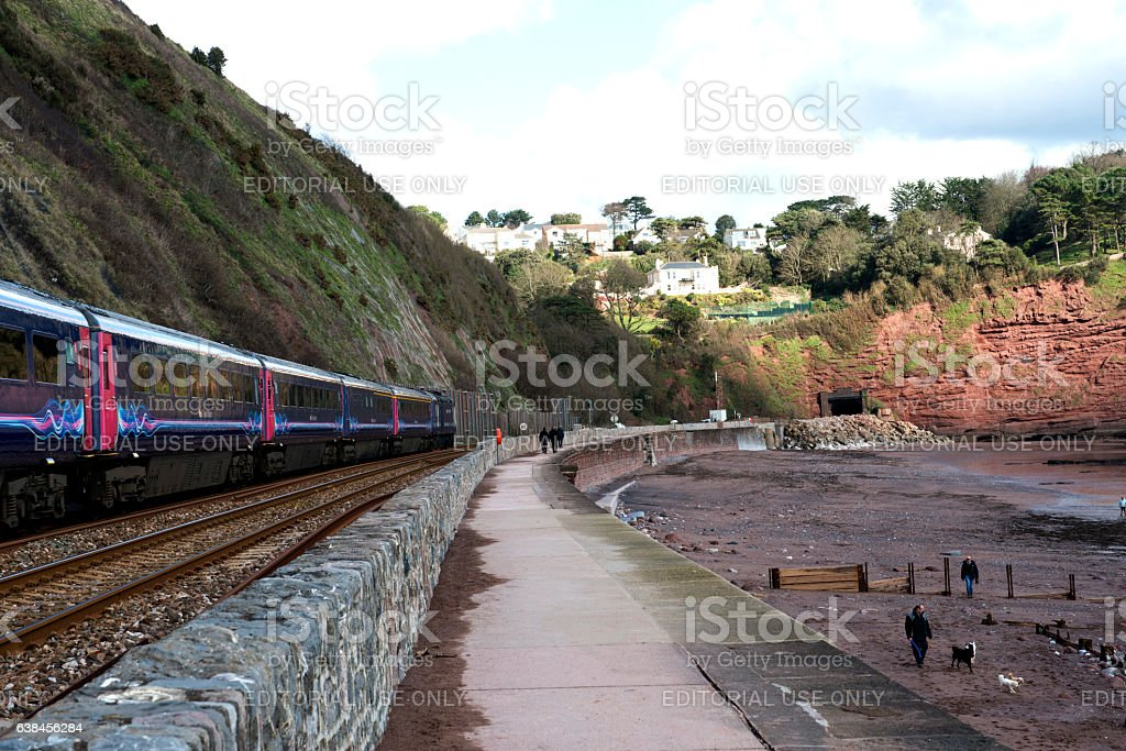 Train travelling east towards the tunnel to Dawlish stock photo