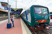 Train 'TrenItalia' of  Regionale type on the station in Florence