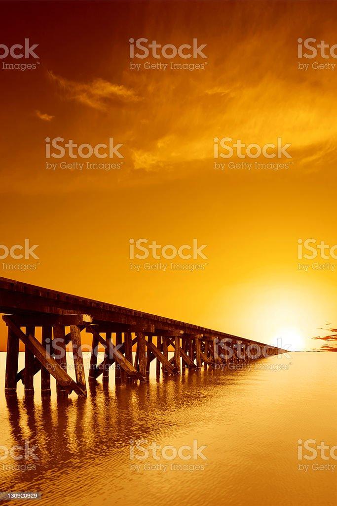 XXL train trestle sunset stock photo