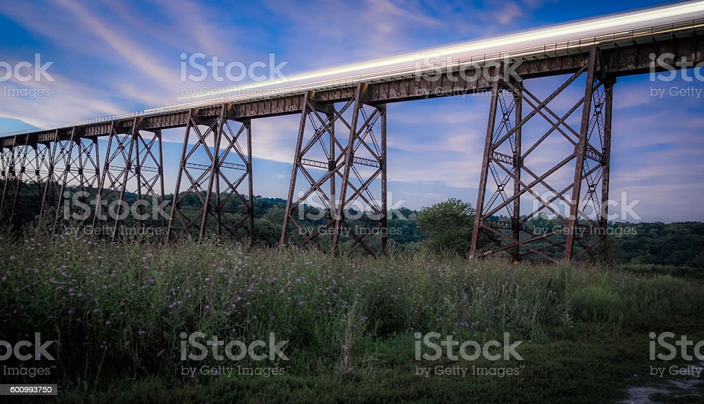 Train trestle with a train passing by stock photo