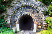 Train tunnel with railway - old