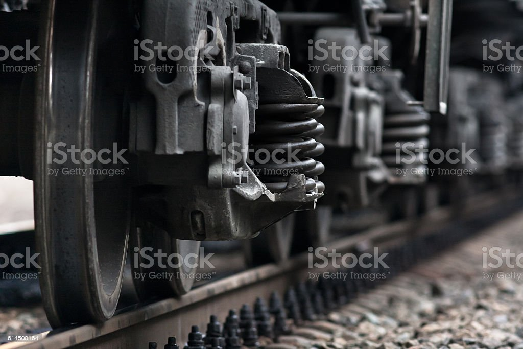 train wheels on rails stock photo
