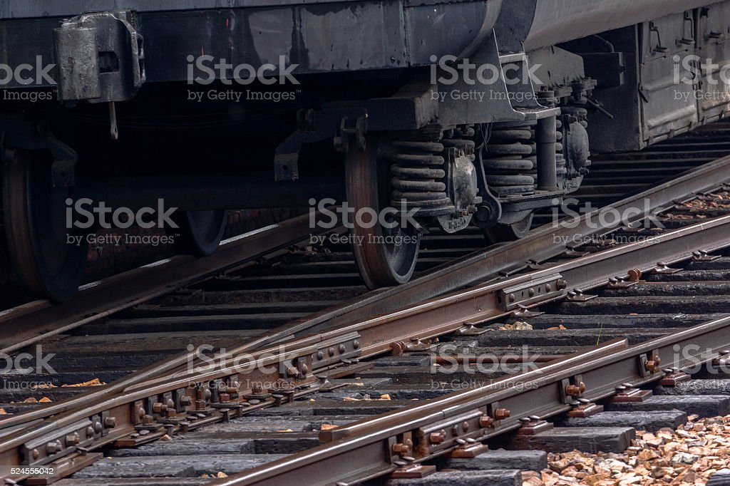 train wheels on railway track stock photo