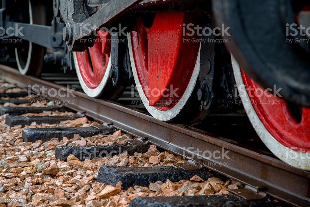 train wheels on railway track stock photo