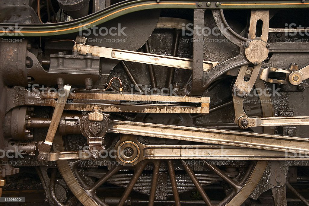Train wheels with gears and pulleys stock photo