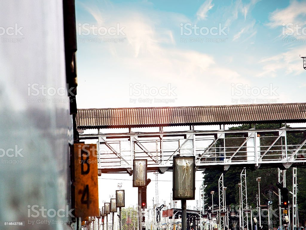 train-coach-number and bridge with railway track stock photo